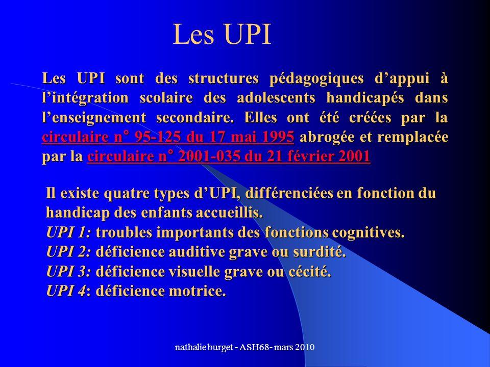 nathalie burget - ASH68- mars 2010 Les UPI sont des structures pédagogiques dappui à lintégration scolaire des adolescents handicapés dans lenseigneme