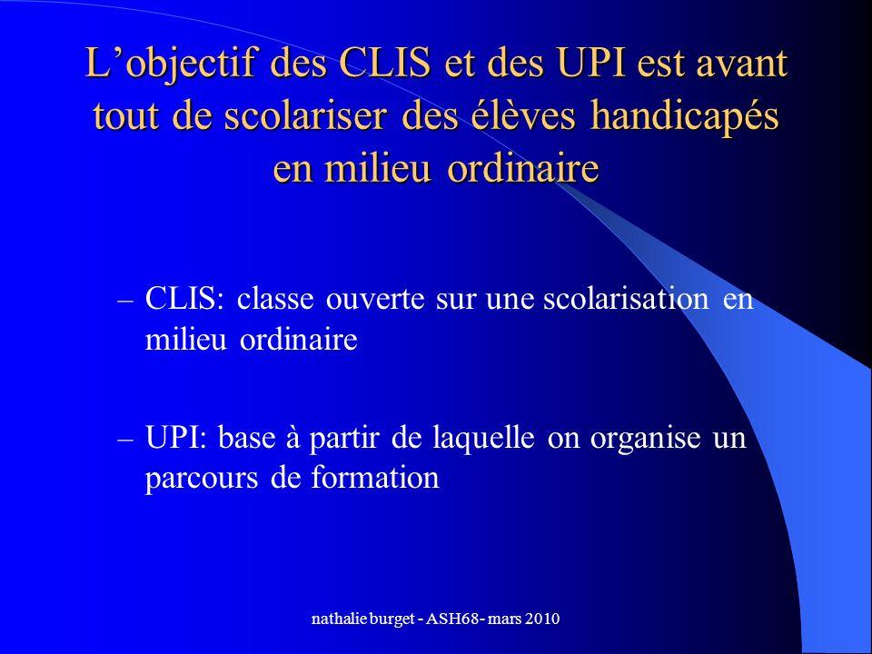 nathalie burget - ASH68- mars 2010 Lobjectif des CLIS et des UPI est avant tout de scolariser des élèves handicapés en milieu ordinaire – CLIS: classe