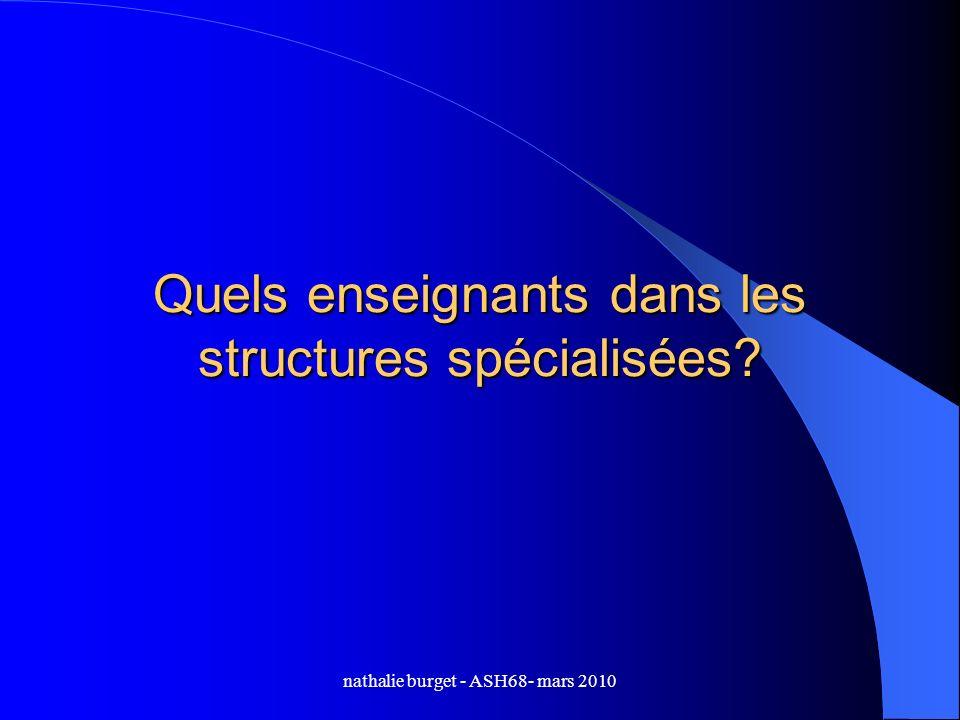 nathalie burget - ASH68- mars 2010 Quels enseignants dans les structures spécialisées?