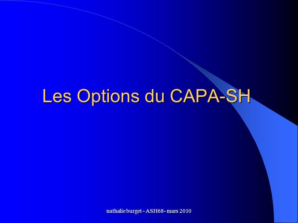 nathalie burget - ASH68- mars 2010 Les Options du CAPA-SH