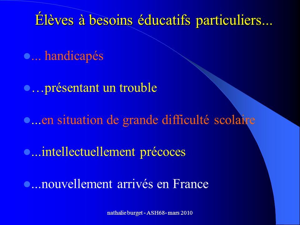 nathalie burget - ASH68- mars 2010 Élèves à besoins éducatifs particuliers...... handicapés …présentant un trouble...en situation de grande difficulté