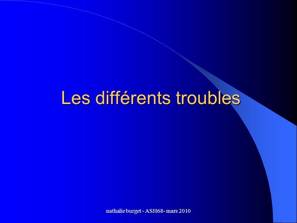 nathalie burget - ASH68- mars 2010 Les différents troubles