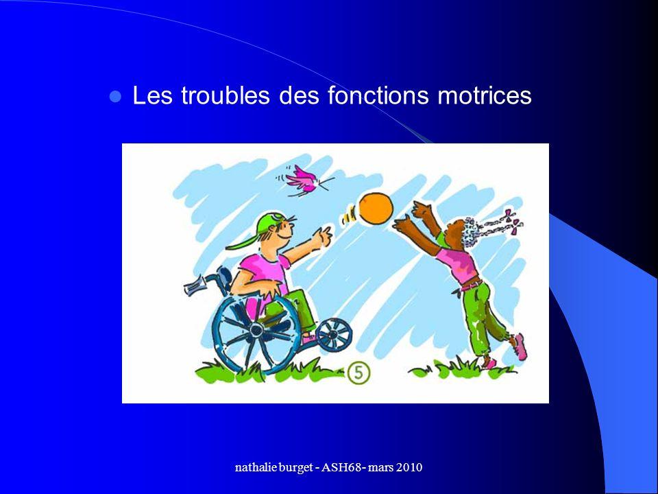 nathalie burget - ASH68- mars 2010 Les troubles des fonctions motrices