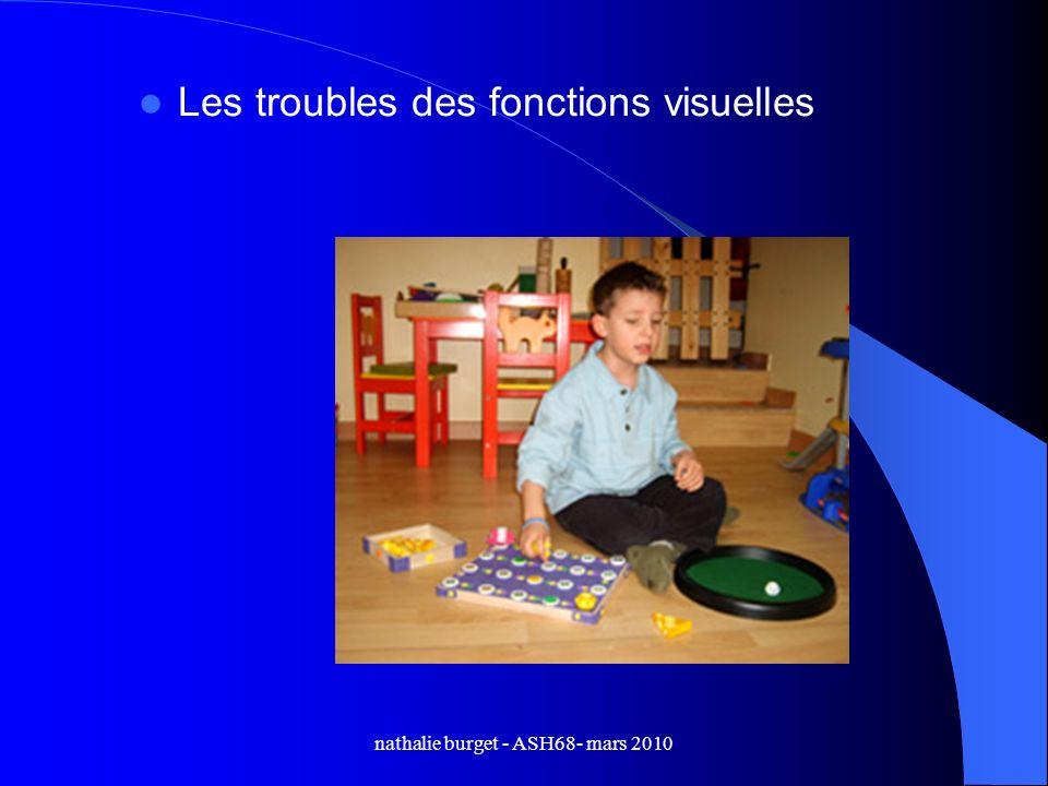nathalie burget - ASH68- mars 2010 Les troubles des fonctions visuelles