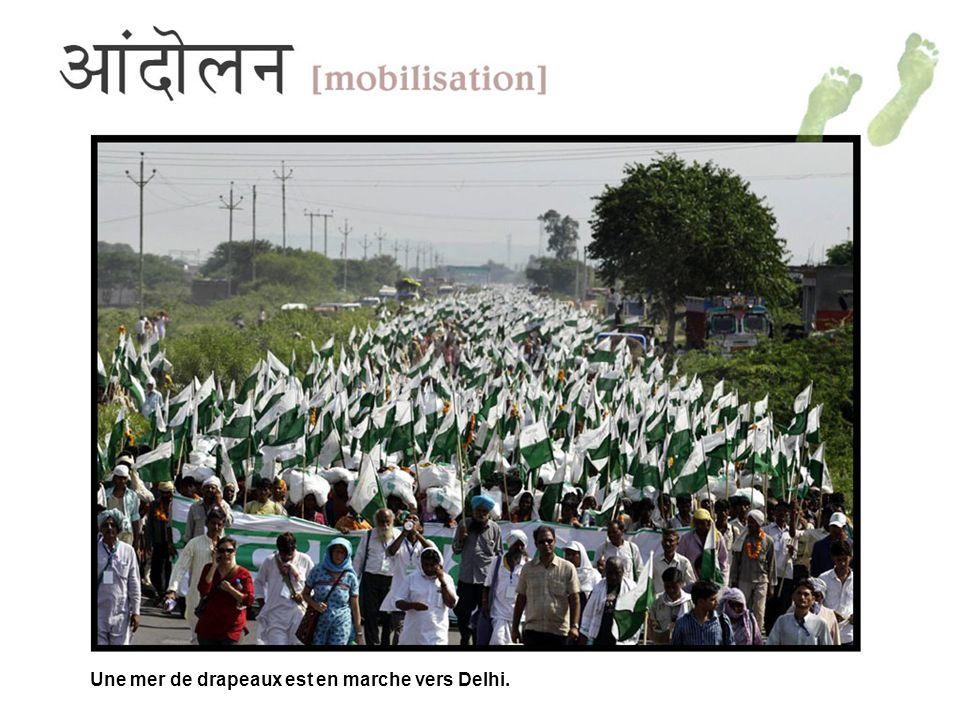 Une mer de drapeaux est en marche vers Delhi.
