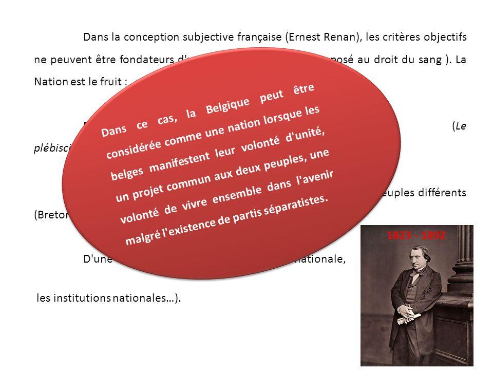 Dans la conception subjective française (Ernest Renan), les critères objectifs ne peuvent être fondateurs d une nation ( Droit du sol opposé au droit du sang ).