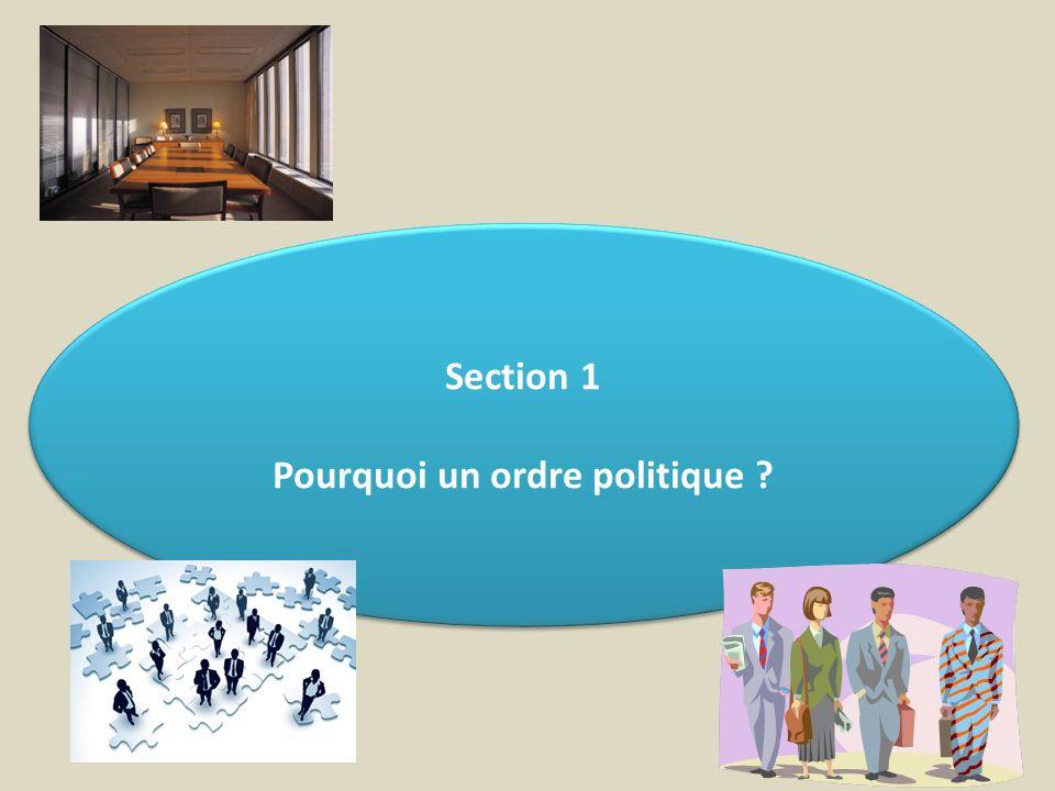 Section 1 Pourquoi un ordre politique ? Section 1 Pourquoi un ordre politique ?