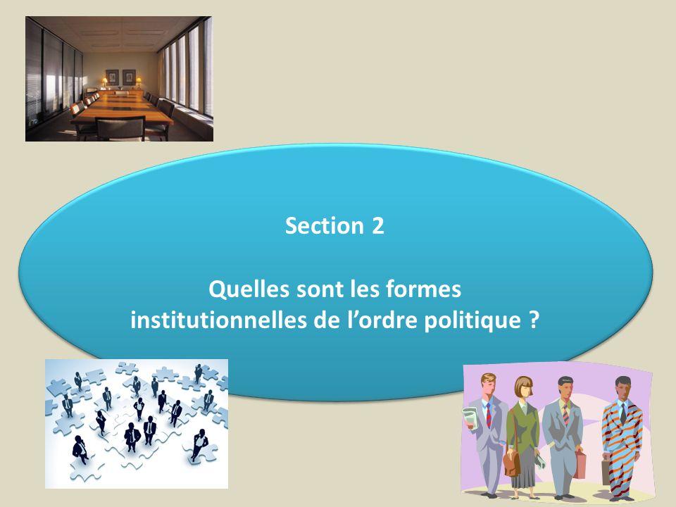 Section 2 Quelles sont les formes institutionnelles de lordre politique .