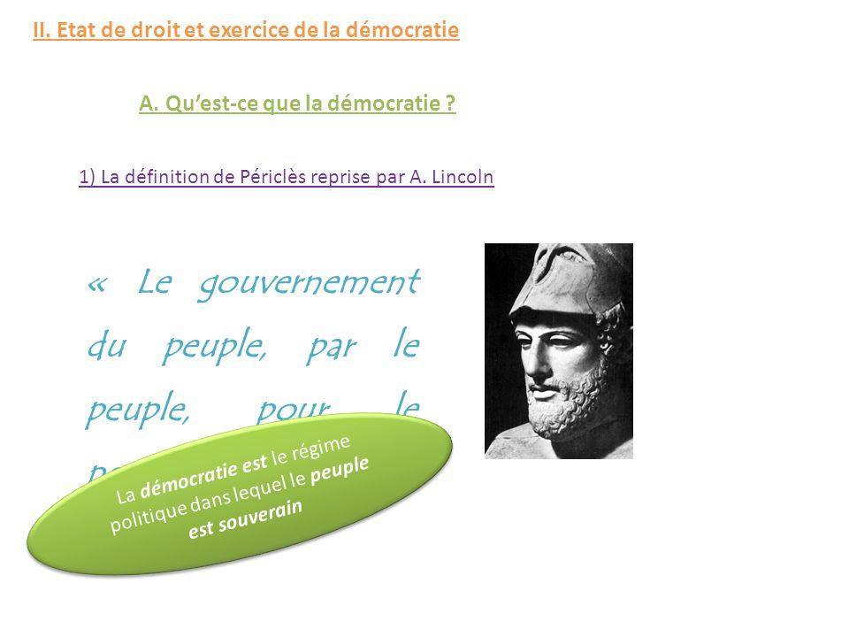 A.Quest-ce que la démocratie . 1) La définition de Périclès reprise par A.