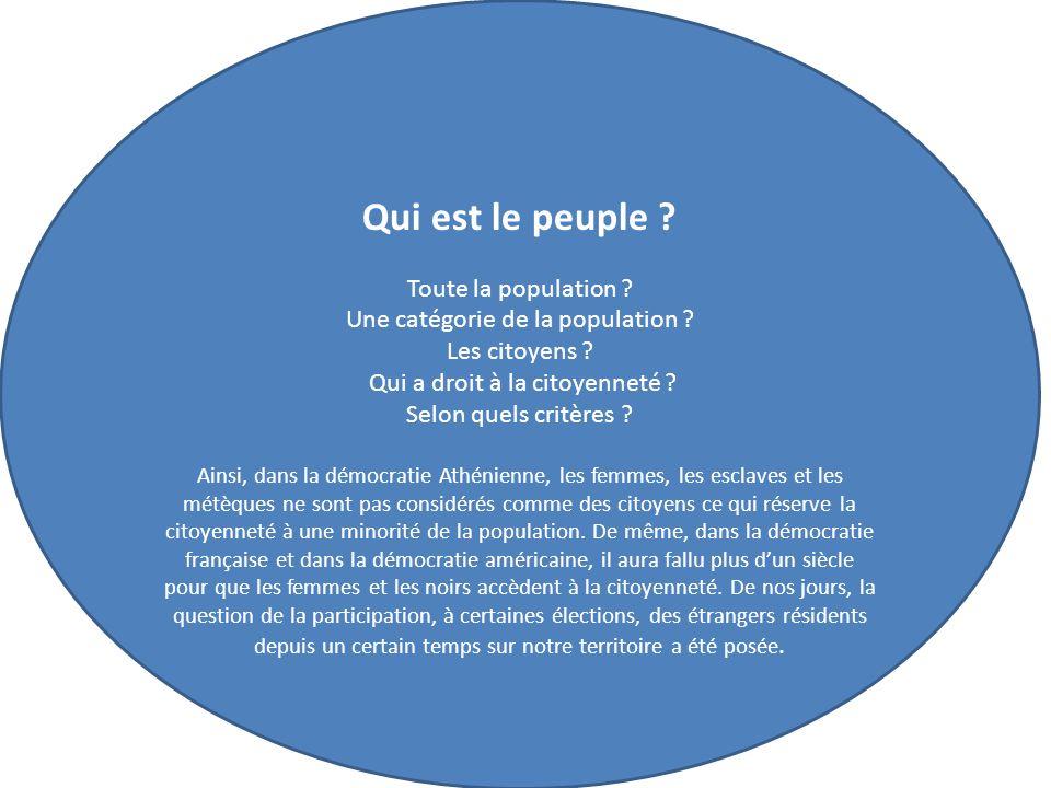 Qui est le peuple .Toute la population . Une catégorie de la population .