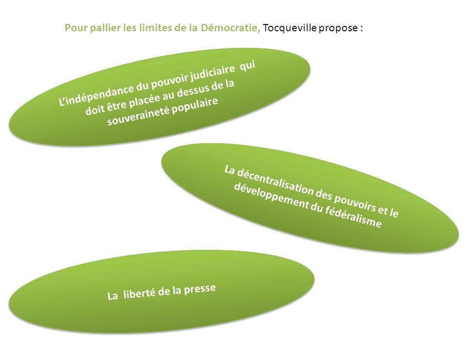 Pour pallier les limites de la Démocratie, Tocqueville propose : Lindépendance du pouvoir judiciaire qui doit être placée au dessus de la souveraineté populaire La décentralisation des pouvoirs et le développement du fédéralisme La liberté de la presse
