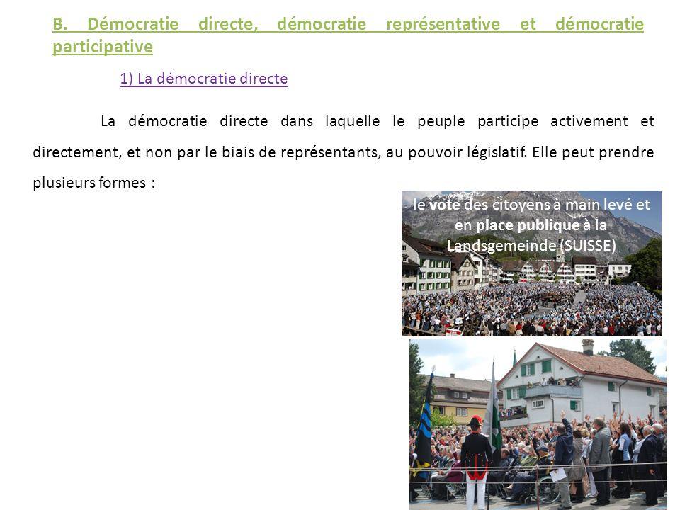 B. Démocratie directe, démocratie représentative et démocratie participative 1) La démocratie directe La démocratie directe dans laquelle le peuple pa