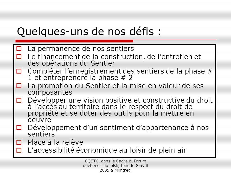 CQSTC, dans le Cadre duForum québécois du loisir, tenu le 8 avril 2005 à Montréal Quelques-uns de nos défis : La permanence de nos sentiers Le financement de la construction, de lentretien et des opérations du Sentier Compléter lenregistrement des sentiers de la phase # 1 et entreprendre la phase # 2 La promotion du Sentier et la mise en valeur de ses composantes Développer une vision positive et constructive du droit à laccès au territoire dans le respect du droit de propriété et se doter des outils pour la mettre en oeuvre Développement dun sentiment dappartenance à nos sentiers Place à la relève Laccessibilité économique au loisir de plein air
