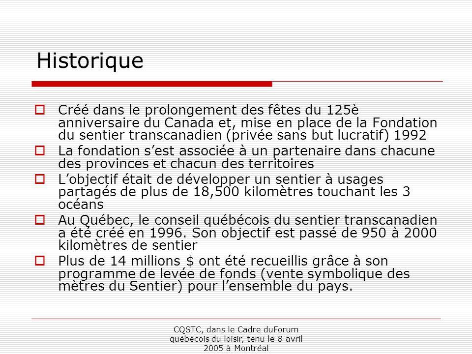 CQSTC, dans le Cadre duForum québécois du loisir, tenu le 8 avril 2005 à Montréal Historique Créé dans le prolongement des fêtes du 125è anniversaire du Canada et, mise en place de la Fondation du sentier transcanadien (privée sans but lucratif) 1992 La fondation sest associée à un partenaire dans chacune des provinces et chacun des territoires Lobjectif était de développer un sentier à usages partagés de plus de 18,500 kilomètres touchant les 3 océans Au Québec, le conseil québécois du sentier transcanadien a été créé en 1996.