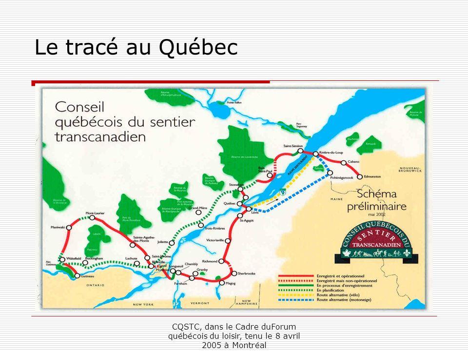 CQSTC, dans le Cadre duForum québécois du loisir, tenu le 8 avril 2005 à Montréal Le Sentier transcanadien au Québec (Phase 1) Kilométrage total potentiel : 1469 Kilomètres enregistrés : 1356 (92.3%) Kilomètres en service : 1291.9 (87.9%) Kilomètres hors route : 1123.6 (76.5%)