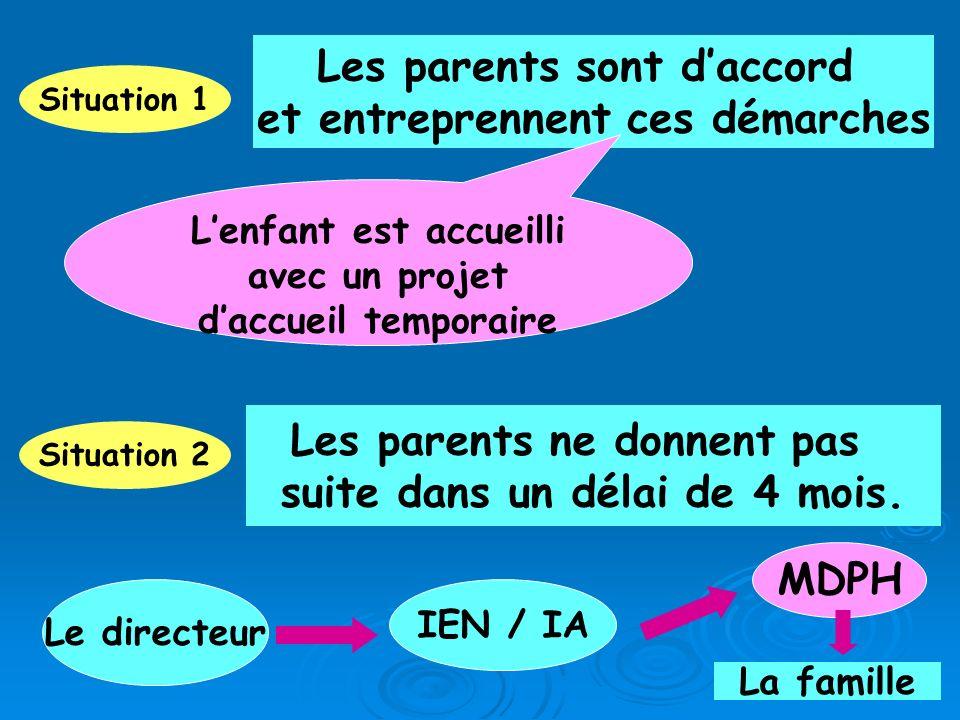 Situation 1 Les parents sont daccord et entreprennent ces démarches Lenfant est accueilli avec un projet daccueil temporaire Situation 2 Les parents n