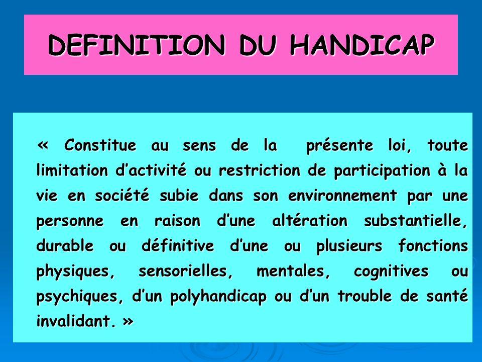 DEFINITION DU HANDICAP « Constitue au sens de la présente loi, toute limitation dactivité ou restriction de participation à la vie en société subie da