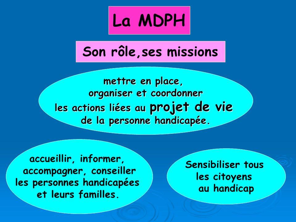 La MDPH accueillir, informer, accompagner, conseiller les personnes handicapées et leurs familles. Sensibiliser tous les citoyens au handicap Son rôle
