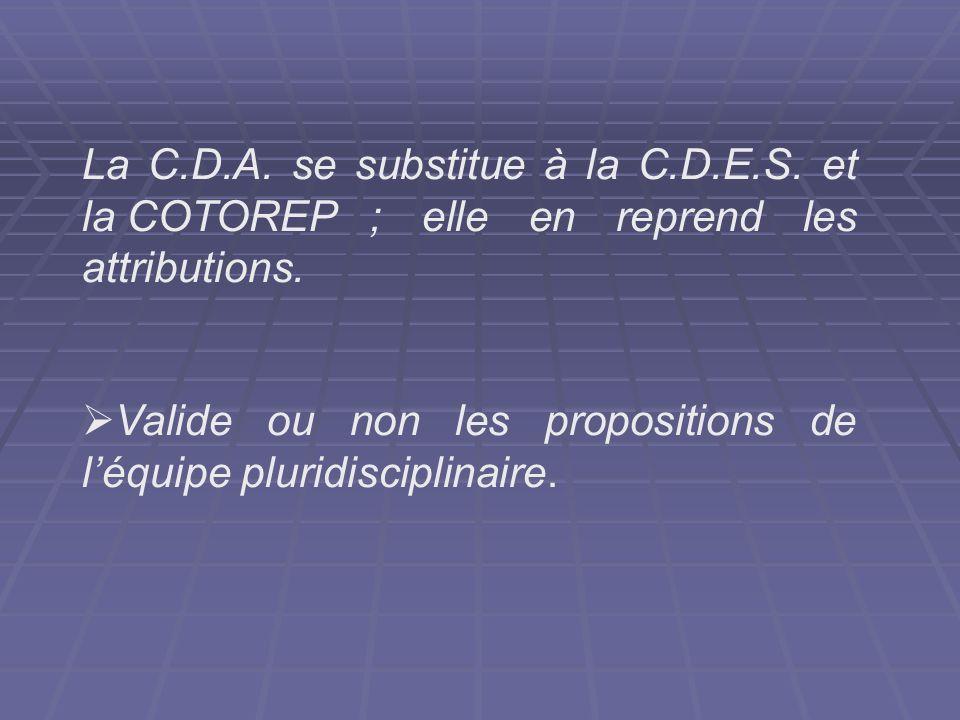 La C.D.A. se substitue à la C.D.E.S. et la COTOREP ; elle en reprend les attributions. Valide ou non les propositions de léquipe pluridisciplinaire.