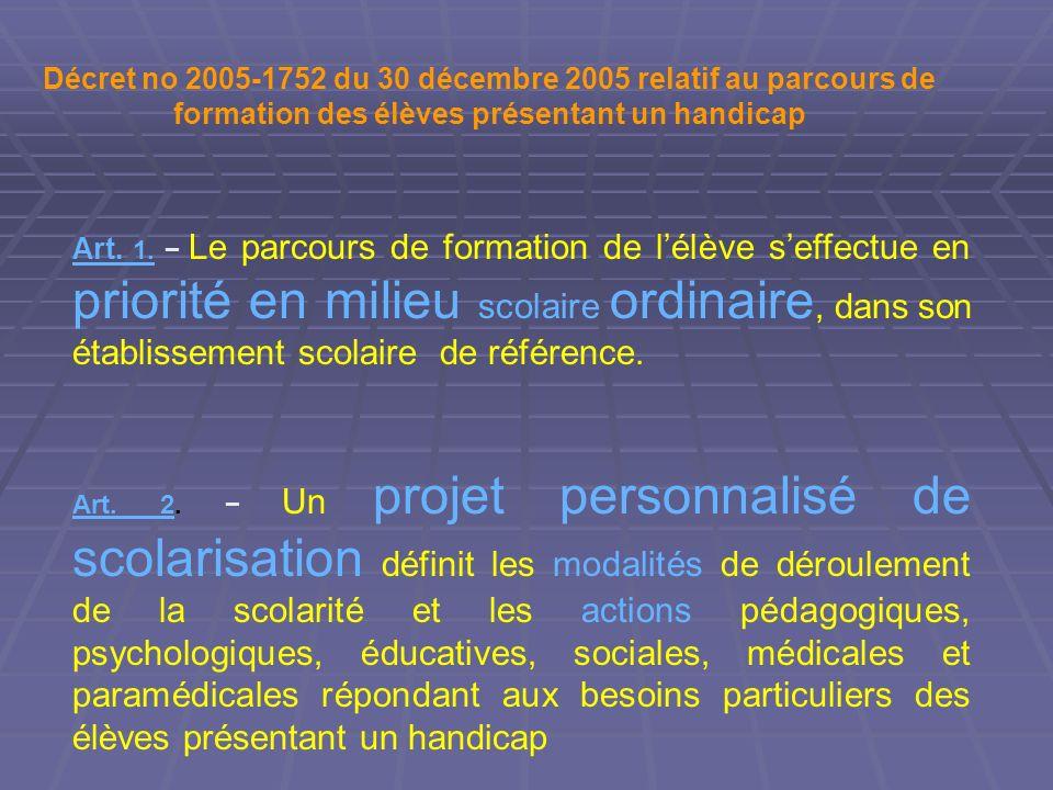 Art. 2Art. 2. Un projet personnalisé de scolarisation définit les modalités de déroulement de la scolarité et les actions pédagogiques, psychologiques