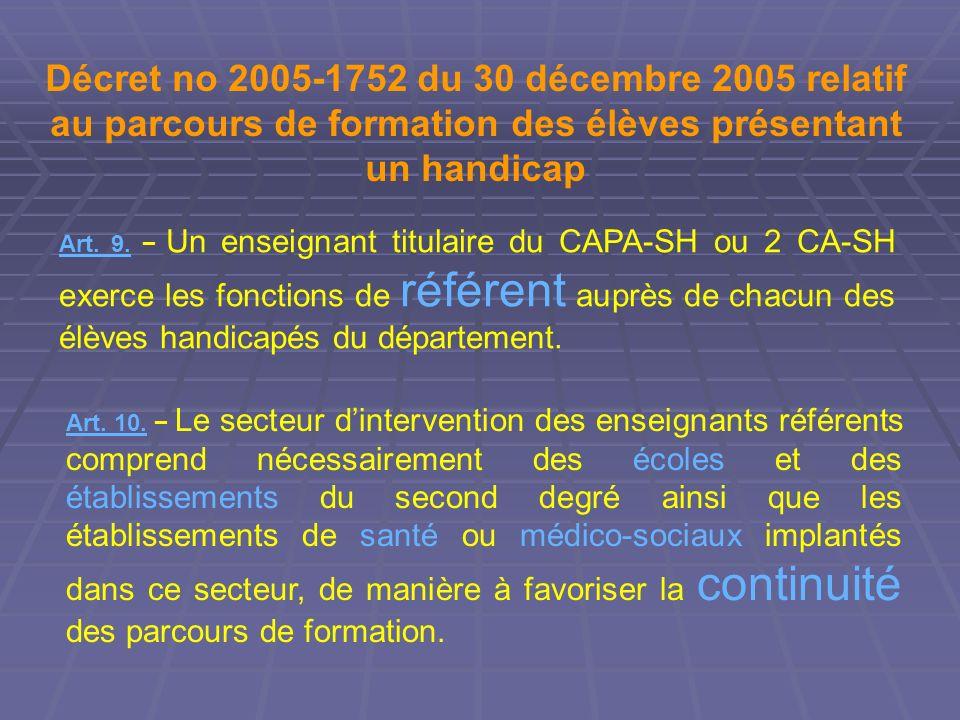 Décret no 2005-1752 du 30 décembre 2005 relatif au parcours de formation des élèves présentant un handicap Art. 9. Un enseignant titulaire du CAPA-SH