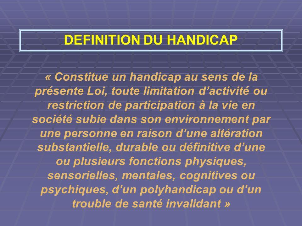 DEFINITION DU HANDICAP « Constitue un handicap au sens de la présente Loi, toute limitation dactivité ou restriction de participation à la vie en soci