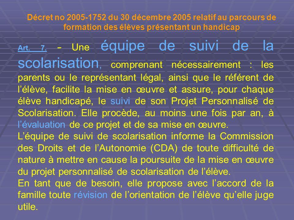 Décret no 2005-1752 du 30 décembre 2005 relatif au parcours de formation des élèves présentant un handicap Art. 7. Une équipe de suivi de la scolarisa