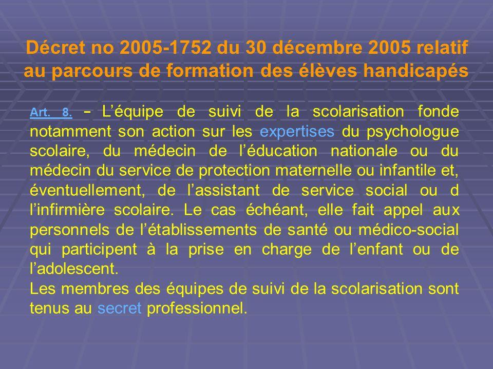Décret no 2005-1752 du 30 décembre 2005 relatif au parcours de formation des élèves handicapés Art. 8. Léquipe de suivi de la scolarisation fonde nota