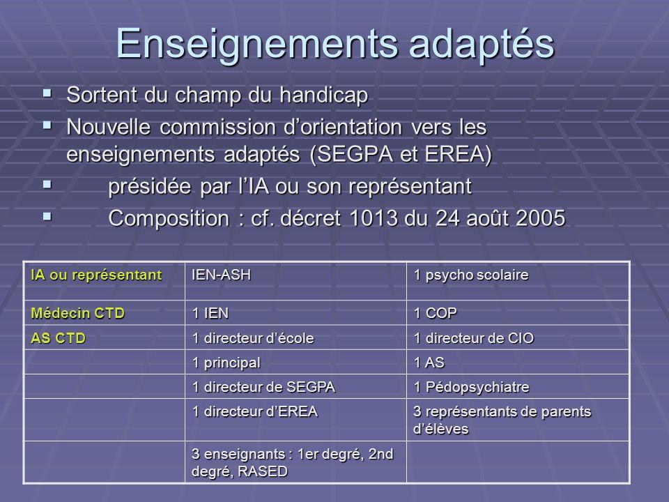 Enseignements adaptés Sortent du champ du handicap Sortent du champ du handicap Nouvelle commission dorientation vers les enseignements adaptés (SEGPA