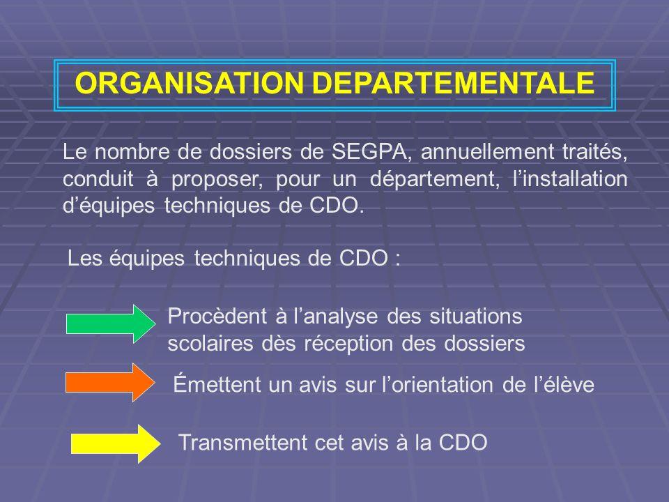 ORGANISATION DEPARTEMENTALE Le nombre de dossiers de SEGPA, annuellement traités, conduit à proposer, pour un département, linstallation déquipes tech