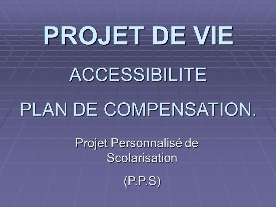 PROJET DE VIE ACCESSIBILITE PLAN DE COMPENSATION. Projet Personnalisé de Scolarisation (P.P.S)