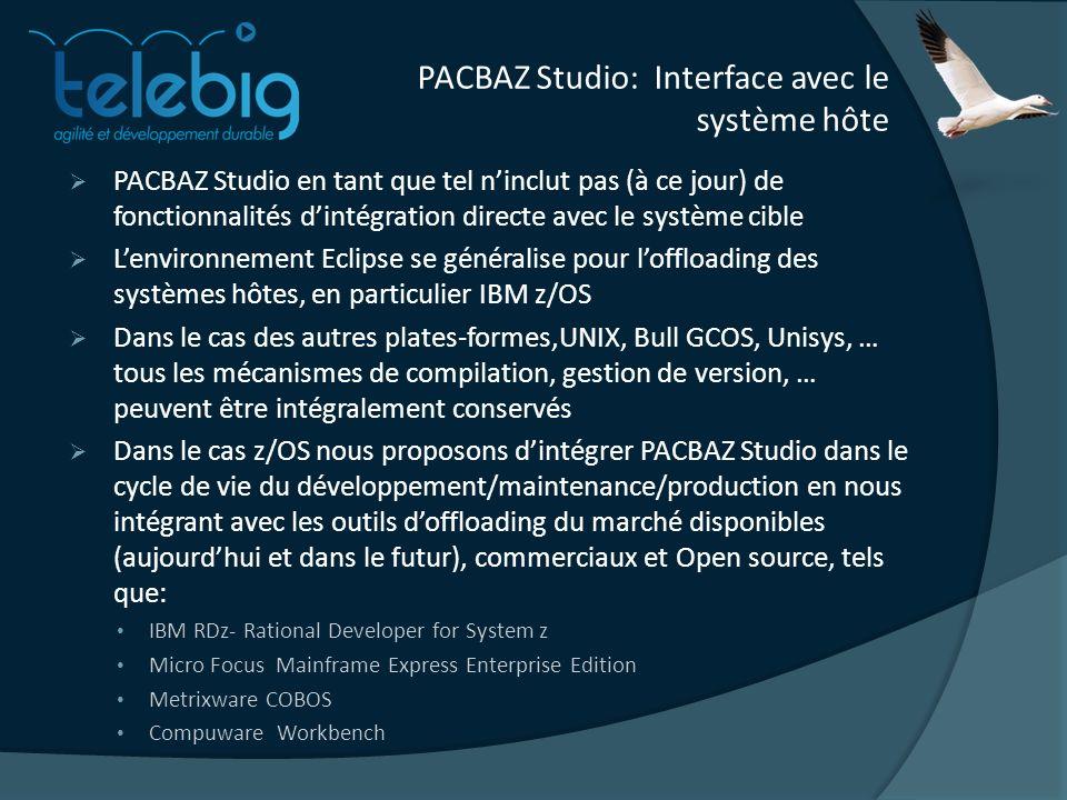 PACBAZ Studio: Interface avec le système hôte PACBAZ Studio en tant que tel ninclut pas (à ce jour) de fonctionnalités dintégration directe avec le système cible Lenvironnement Eclipse se généralise pour loffloading des systèmes hôtes, en particulier IBM z/OS Dans le cas des autres plates-formes,UNIX, Bull GCOS, Unisys, … tous les mécanismes de compilation, gestion de version, … peuvent être intégralement conservés Dans le cas z/OS nous proposons dintégrer PACBAZ Studio dans le cycle de vie du développement/maintenance/production en nous intégrant avec les outils doffloading du marché disponibles (aujourdhui et dans le futur), commerciaux et Open source, tels que: IBM RDz- Rational Developer for System z Micro Focus Mainframe Express Enterprise Edition Metrixware COBOS Compuware Workbench