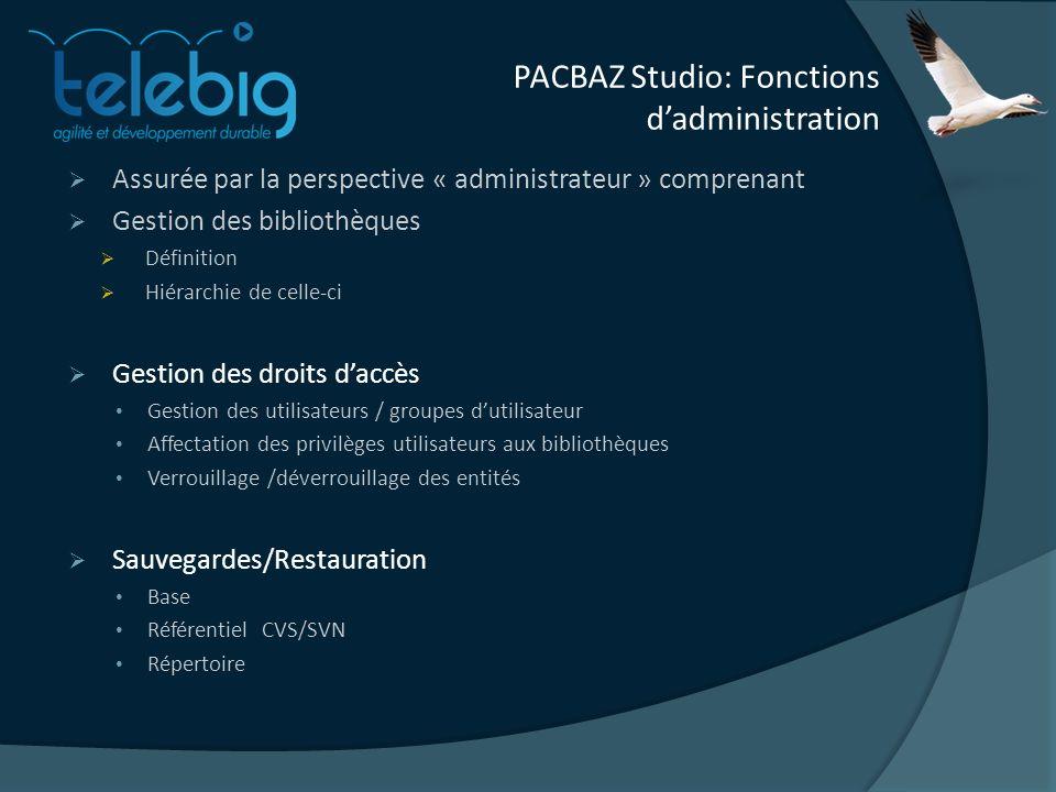 PACBAZ Studio: Fonctions dadministration Assurée par la perspective « administrateur » comprenant Gestion des bibliothèques Définition Hiérarchie de c