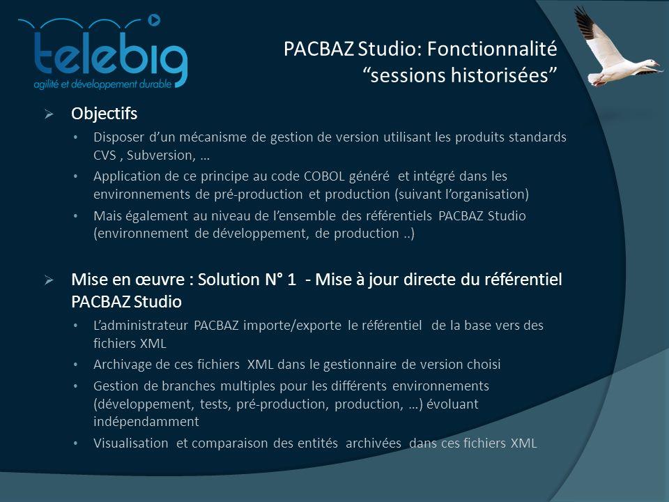 PACBAZ Studio: Fonctionnalité sessions historisées Objectifs Disposer dun mécanisme de gestion de version utilisant les produits standards CVS, Subversion, … Application de ce principe au code COBOL généré et intégré dans les environnements de pré-production et production (suivant lorganisation) Mais également au niveau de lensemble des référentiels PACBAZ Studio (environnement de développement, de production..) Mise en œuvre : Solution N° 1 - Mise à jour directe du référentiel PACBAZ Studio Ladministrateur PACBAZ importe/exporte le référentiel de la base vers des fichiers XML Archivage de ces fichiers XML dans le gestionnaire de version choisi Gestion de branches multiples pour les différents environnements (développement, tests, pré-production, production, …) évoluant indépendamment Visualisation et comparaison des entités archivées dans ces fichiers XML