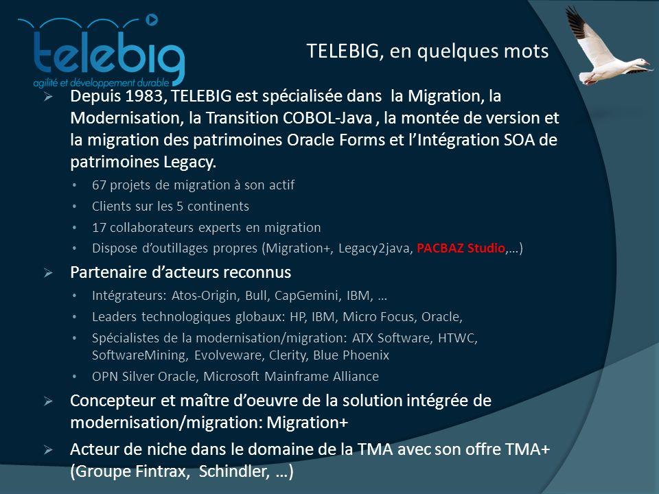 TELEBIG, en quelques mots Depuis 1983, TELEBIG est spécialisée dans la Migration, la Modernisation, la Transition COBOL-Java, la montée de version et la migration des patrimoines Oracle Forms et lIntégration SOA de patrimoines Legacy.