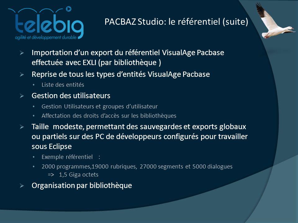 PACBAZ Studio: le référentiel (suite) Importation dun export du référentiel VisualAge Pacbase effectuée avec EXLI (par bibliothèque ) Reprise de tous les types dentités VisualAge Pacbase Liste des entités Gestion des utilisateurs Gestion Utilisateurs et groupes dutilisateur Affectation des droits daccès sur les bibliothèques Taille modeste, permettant des sauvegardes et exports globaux ou partiels sur des PC de développeurs configurés pour travailler sous Eclipse Exemple référentiel : 2000 programmes,19000 rubriques, 27000 segments et 5000 dialogues => 1,5 Giga octets Organisation par bibliothèque