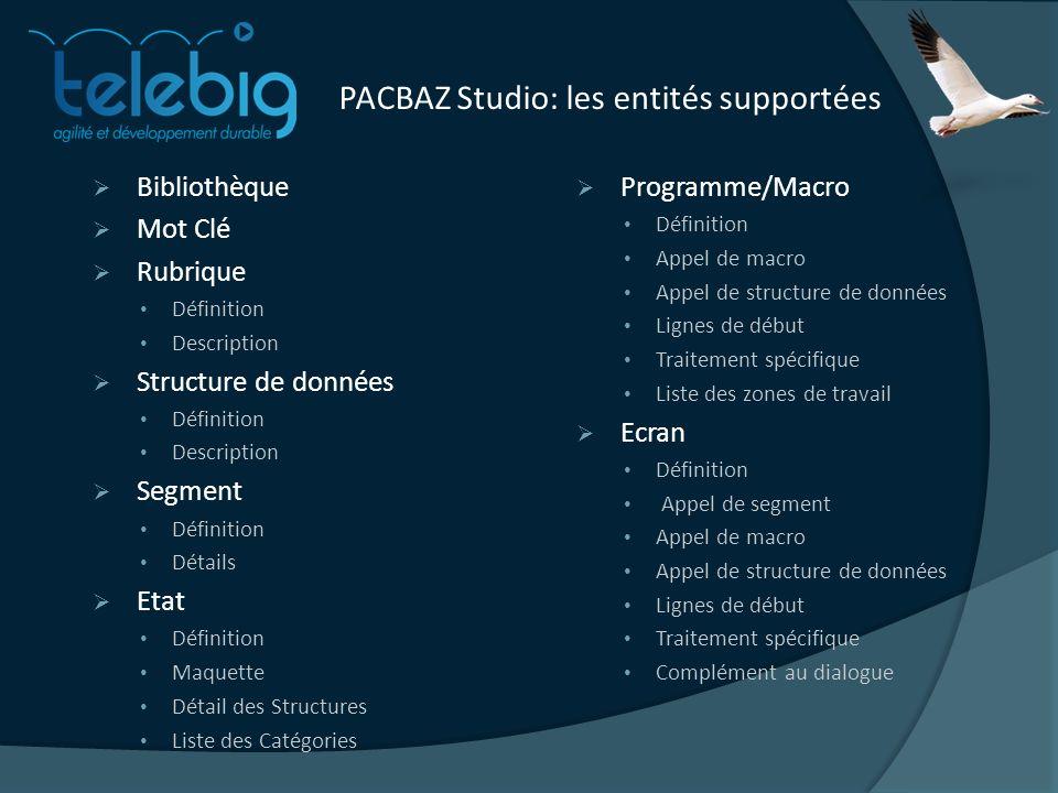 PACBAZ Studio: les entités supportées Bibliothèque Mot Clé Rubrique Définition Description Structure de données Définition Description Segment Définit