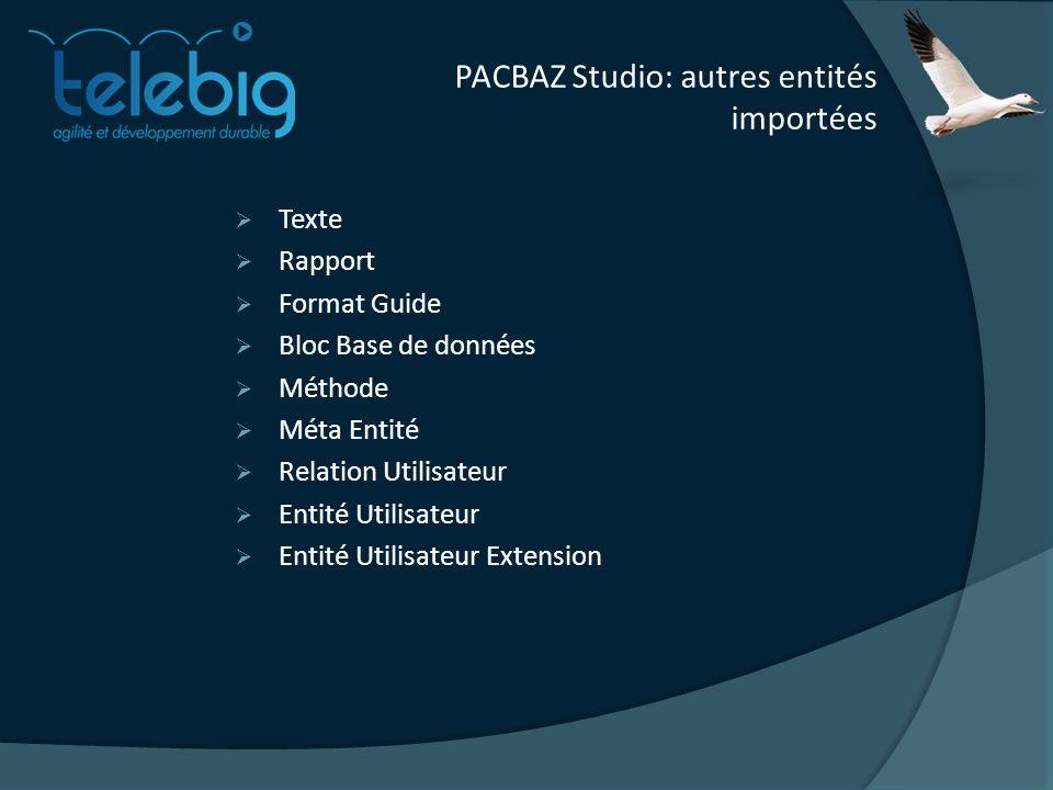PACBAZ Studio: autres entités importées Texte Rapport Format Guide Bloc Base de données Méthode Méta Entité Relation Utilisateur Entité Utilisateur Entité Utilisateur Extension
