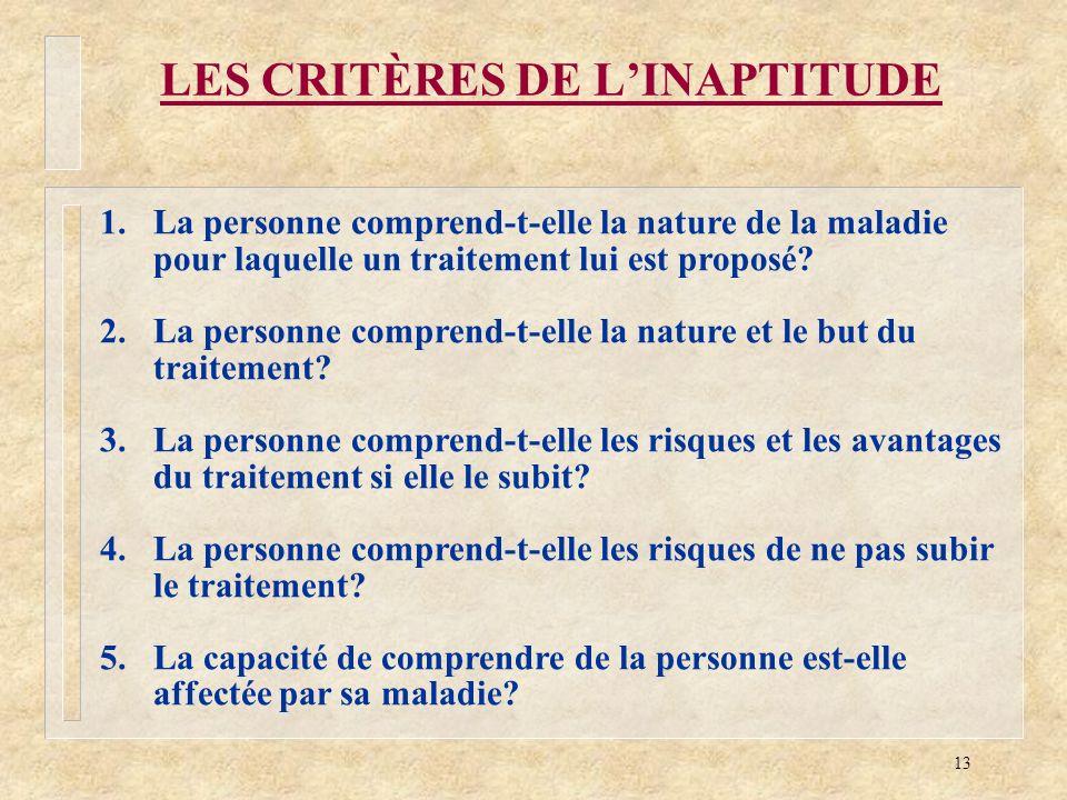 13 LES CRITÈRES DE LINAPTITUDE 1.La personne comprend-t-elle la nature de la maladie pour laquelle un traitement lui est proposé? 2.La personne compre