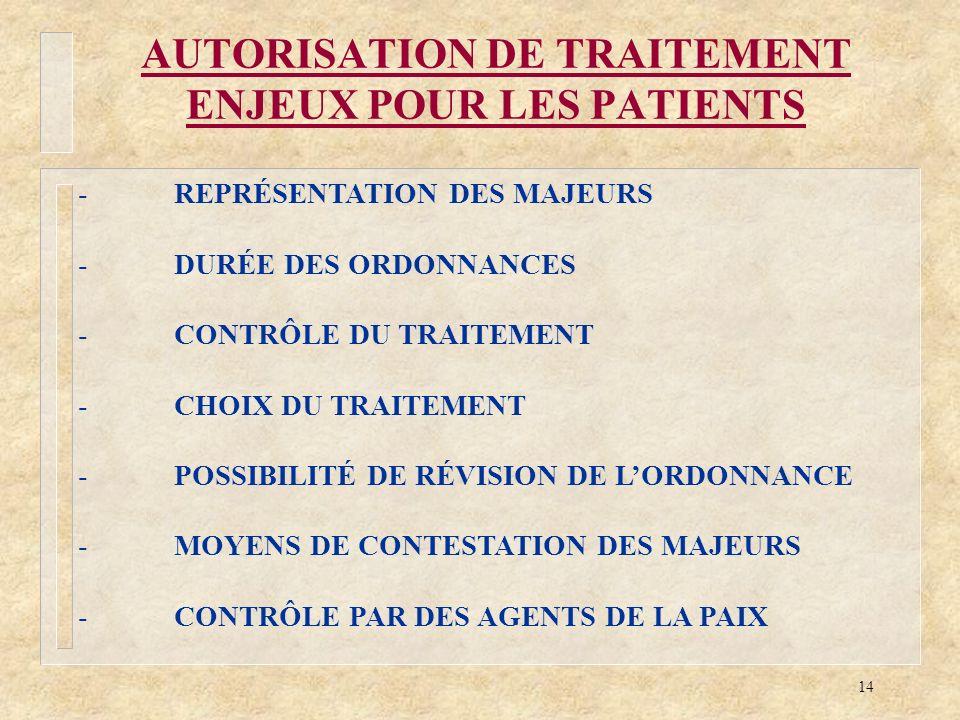14 AUTORISATION DE TRAITEMENT ENJEUX POUR LES PATIENTS -REPRÉSENTATION DES MAJEURS -DURÉE DES ORDONNANCES -CONTRÔLE DU TRAITEMENT -CHOIX DU TRAITEMENT