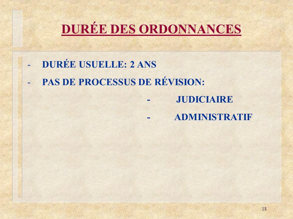 18 DURÉE DES ORDONNANCES -DURÉE USUELLE: 2 ANS -PAS DE PROCESSUS DE RÉVISION: - JUDICIAIRE - ADMINISTRATIF