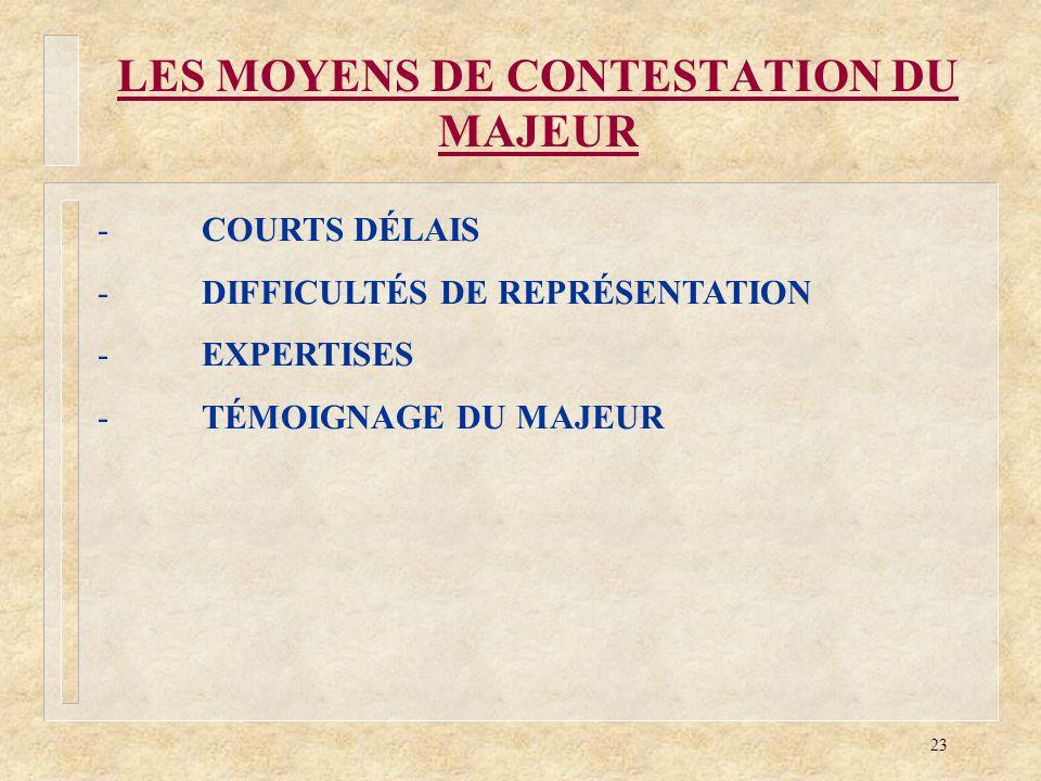 23 LES MOYENS DE CONTESTATION DU MAJEUR -COURTS DÉLAIS -DIFFICULTÉS DE REPRÉSENTATION -EXPERTISES -TÉMOIGNAGE DU MAJEUR