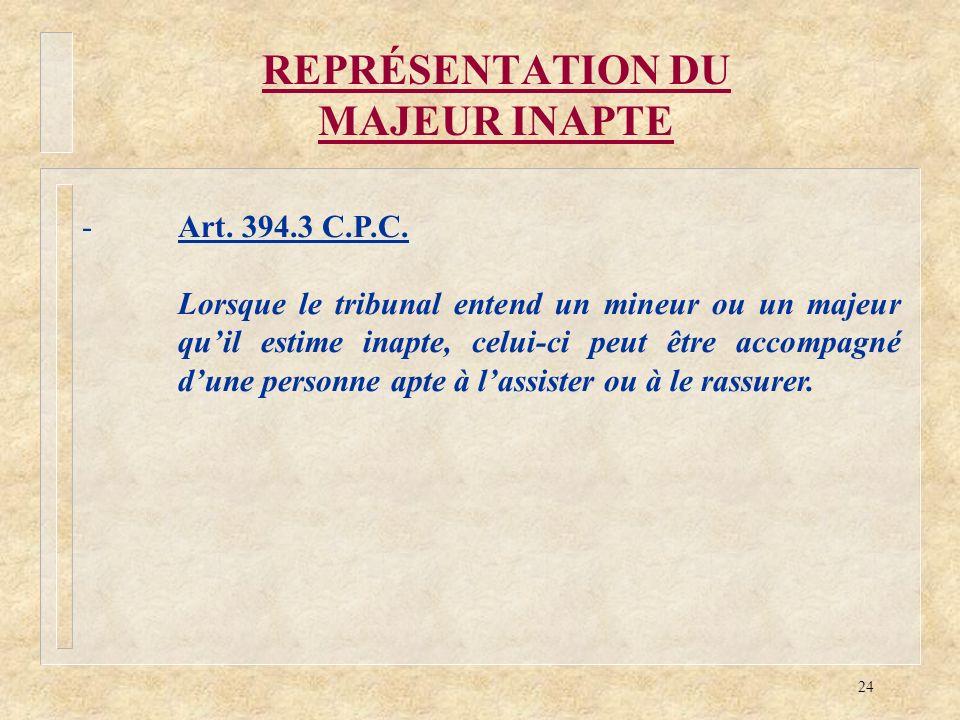 24 REPRÉSENTATION DU MAJEUR INAPTE -Art. 394.3 C.P.C. Lorsque le tribunal entend un mineur ou un majeur quil estime inapte, celui-ci peut être accompa