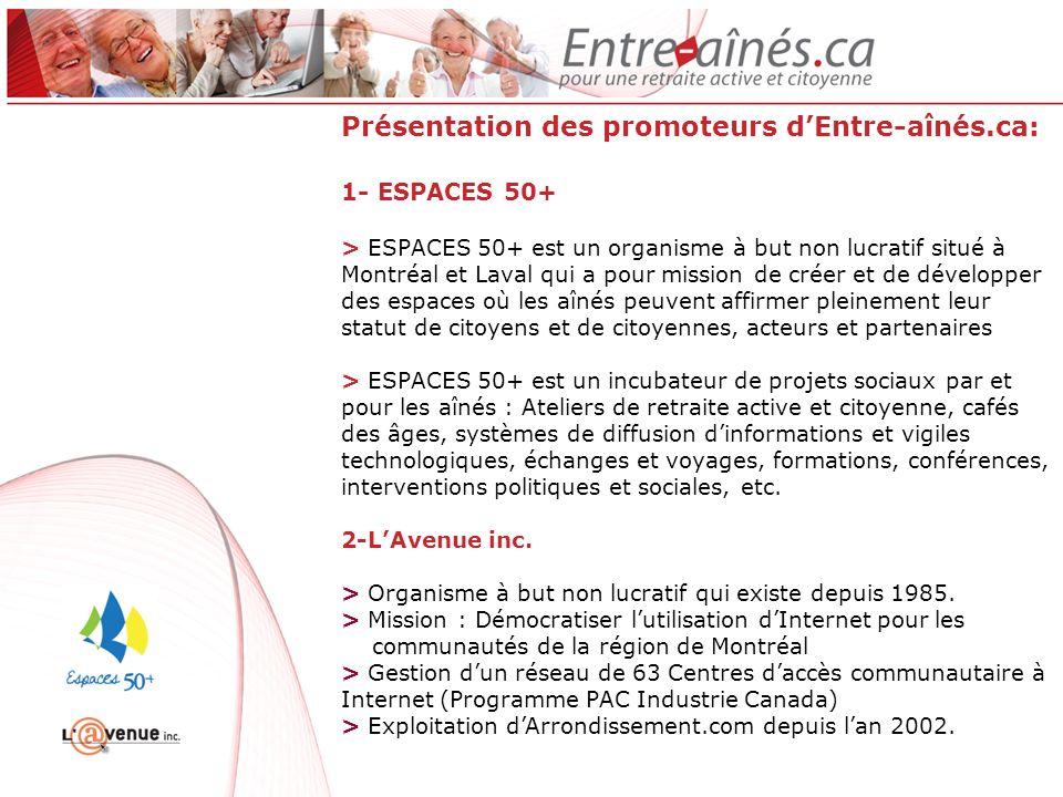 Un résumé de notre démarche Janvier 2011: Établissement dun partenariat entre Espace 50+ et LAvenue inc.