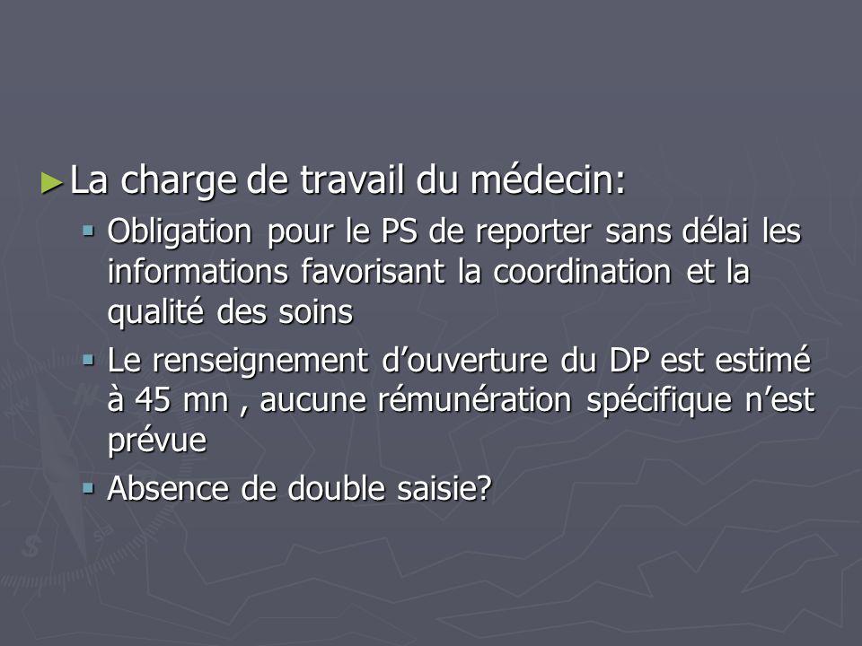 La charge de travail du médecin: La charge de travail du médecin: Obligation pour le PS de reporter sans délai les informations favorisant la coordina