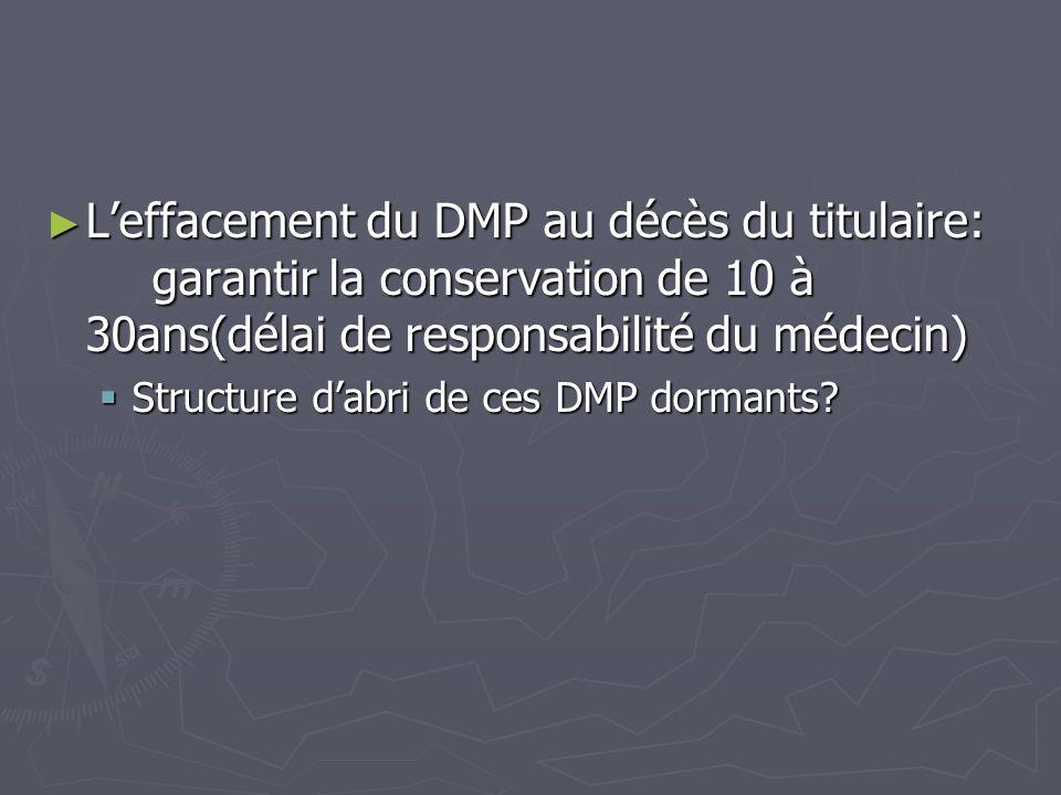 Leffacement du DMP au décès du titulaire: garantir la conservation de 10 à 30ans(délai de responsabilité du médecin) Leffacement du DMP au décès du ti