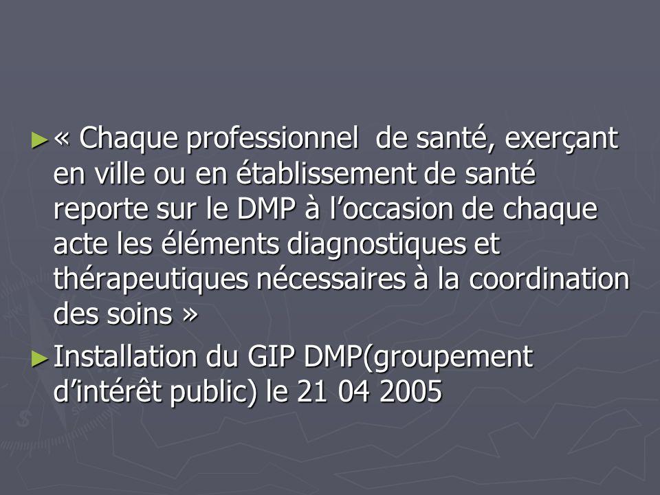 « Chaque professionnel de santé, exerçant en ville ou en établissement de santé reporte sur le DMP à loccasion de chaque acte les éléments diagnostiqu