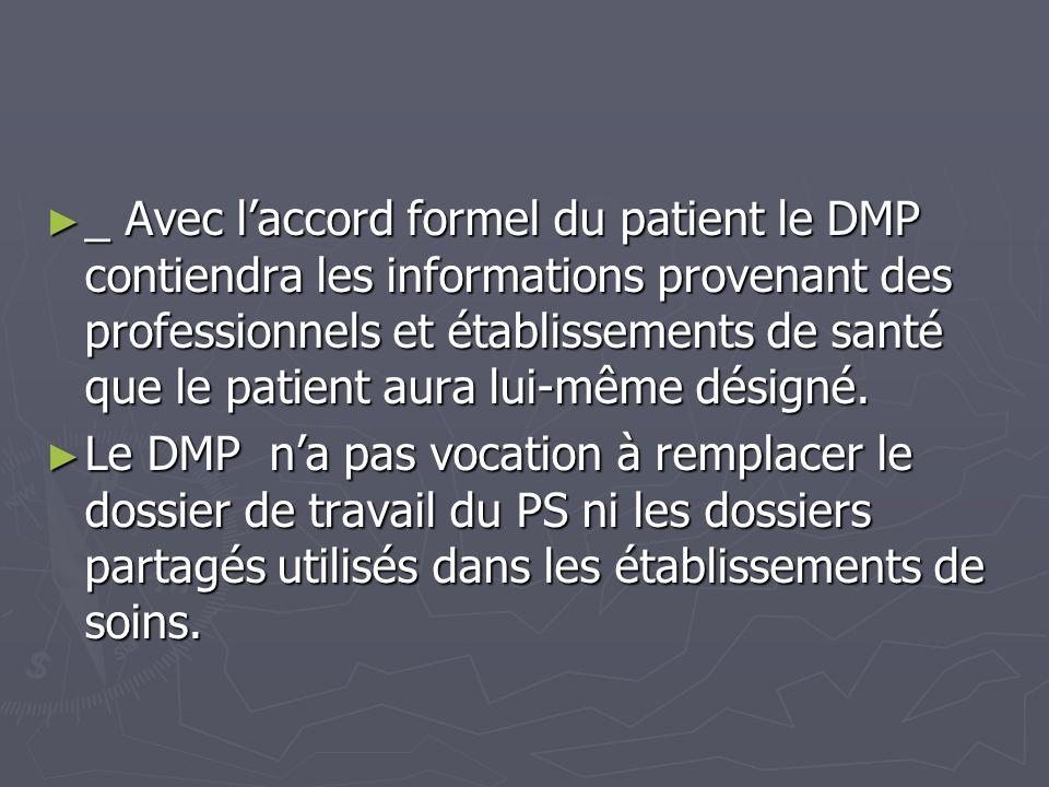 _ Avec laccord formel du patient le DMP contiendra les informations provenant des professionnels et établissements de santé que le patient aura lui-mê