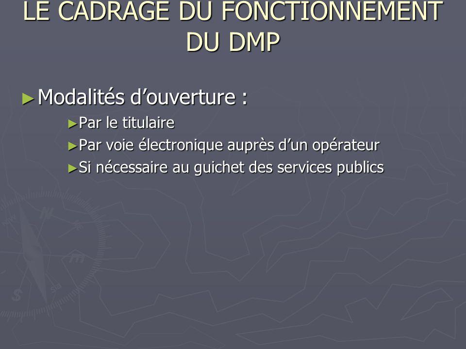 LE CADRAGE DU FONCTIONNEMENT DU DMP Modalités douverture : Modalités douverture : Par le titulaire Par le titulaire Par voie électronique auprès dun o