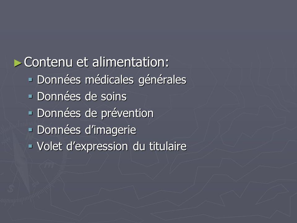 Contenu et alimentation: Contenu et alimentation: Données médicales générales Données médicales générales Données de soins Données de soins Données de